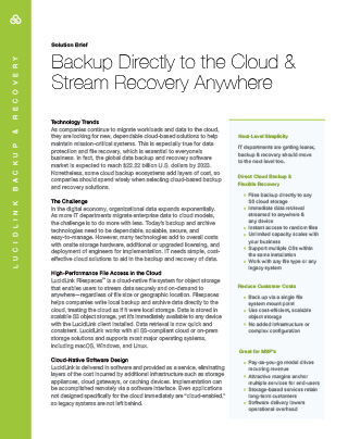 Backup Directly to the Cloud & Stream Recovery Anywhere